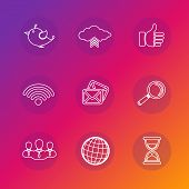 Set of social network icons in white silhouette.