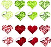 Green And Red Hearts Labels