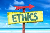 pic of ethics  - Ethics sign with beach background - JPG