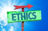 image of ethics  - Ethics sign with sky background - JPG