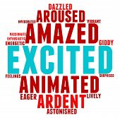 image of aroused  - Excited word cloud on a white background - JPG