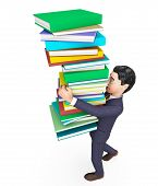 stock photo of fiction  - Businessman Carrying Books Showing Commercial University And Non - JPG
