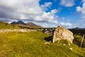 picture of galway  - Connemara Irish countryside in County Galway with large rock hills and clouds - JPG