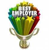 foto of trophy  - Best Employer words in a gold trophy with colorful starts to illustrate the top rated workplace for your new job or career - JPG