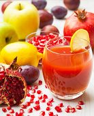 pic of pomegranate  - Fresh fruit juice with pomegranates - JPG