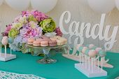 image of candy  - Cute candy bar with various candies and cakes  - JPG