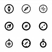 foto of longitude  - Vector compass icon set on white background - JPG