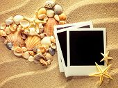 pic of beach shell art  - Old style empty photo cards lying on a sea sand and framed with shells - JPG
