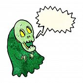foto of spooky  - cartoon spooky ghoul with speech bubble - JPG