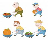 image of food crops  - Set cartoon character farmers with a crop of vegetables and pumpkins - JPG