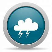 stock photo of storms  - storm blue glossy web icon - JPG