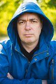 picture of hooded sweatshirt  - Man portrait in hooded sweatshirt - JPG