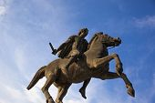 image of great horse  - Alexander the Great statue on city square in Thessaloniki Greece - JPG