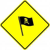 stock photo of pirate flag  - pirate flag sign - JPG