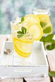 picture of refreshing  - Refreshing lemonade with mint on wooden table - JPG