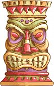 foto of tiki  - An Illustration of an Ancient Tiki Head Design - JPG