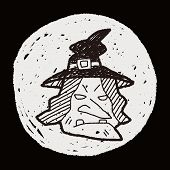 picture of witch  - Witch Hat Doodle - JPG