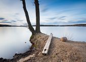 picture of long distance  - Beautiful long exposure landscape of lake in Mazury lake district  - JPG