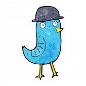pic of bluebird  - cartoon bluebird wearing hat - JPG