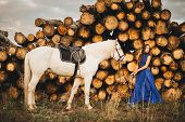 pic of horse girl  - Beautiful girl with horse and long hair - JPG
