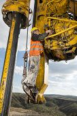 picture of foundation  - Construction worker fixing drilling pile foundation - JPG