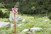 image of pedestrians  - No pedestrians sign in nature park - JPG