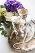 image of wedding table decor  - Big bouquet of fresh flowers - JPG