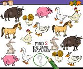 stock photo of brain teaser  - Cartoon Illustration of Finding the Same Picture Educational Game for Preschool Children with Farm Animals - JPG