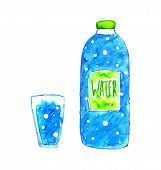 picture of bottle water  - Watercolor blue bottle of water and glass of water with bubbles - JPG