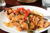 picture of poblano  - Grilled chicken Asada with peppers and onions closeup - JPG
