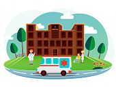foto of ambulance  - Front side view of a brown hospital with cartoon illustration of a doctor - JPG