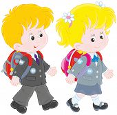 foto of schoolboys  - Little schoolgirl and schoolboy going with schoolbags - JPG