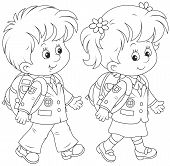 picture of schoolboys  - Little schoolgirl and schoolboy going with schoolbags - JPG