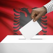 picture of albania  - Ballot box with flag on background  - JPG