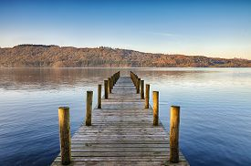 picture of jetties  - Perspective view of a wooden jetty on Windermere in the English Lake District - JPG