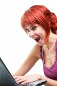 Happy Woman Surfing Internet On Laptop
