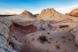 picture of plateau  - Plateau from white and red sandstone, White Pocket,  Paria Plateau in Northern Arizona, USA ** Note: Soft Focus at 100%, best at smaller sizes - JPG