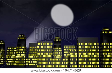 illustration of city at night