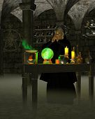Alchemist or Wizard in Laboratory