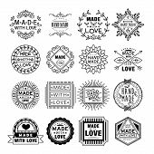 Handmade Emblems in Linear Style Vector Illustration Set poster