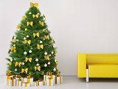 Christmas Tree In The Room Interior 3D Render
