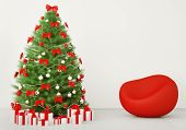 Christmas Tree In The Room With Armchair Interior 3D Render