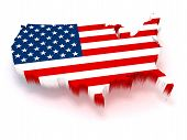 image of usa flag  - 3D USA map covered with a US flag texture - JPG