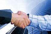 Corporate Deal - blau Handshake