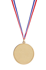 image of gold medal  - Blank gold medal with tricolor ribbon isolated on white background - JPG