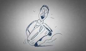 picture of caricatures  - Caricature of funny man driving car on white background - JPG