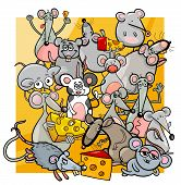 Cartoon Mice And Rats With Cheese poster