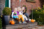 Kids At House Porch On Autumn Day poster