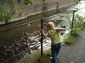 Small Boy Feeding Ducks