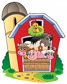 image of farm animals  - Barn with various farm animals  - JPG